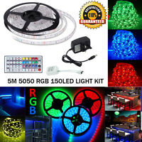 Waterproof 5M 5050 RGB LED Strip Light Power Supply Adapter 44Key IR Remote Kit