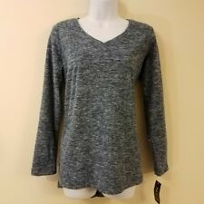 Style & Co. Top S Blue Fleece Pullover V-Neck Long Sleeve Small Womens Shirt