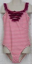 Hanna Andersson Pink Striped Bathing Suit Ruffled Girls Sz 140 (10-12)