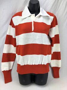 Vintage Dehen Cheerleader Long Sleeve Sweater NOS White Red Stripe 60s Collared