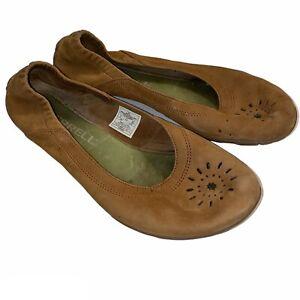 Merrell Barefoot Tan Leather Slip Ballet Flat Vibram Sole, Women's Size 8