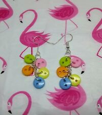 MULTI COLOUR PASTEL BUTTON CLUSTER DROP  EARRINGS - Funky Kitsch Jewellery