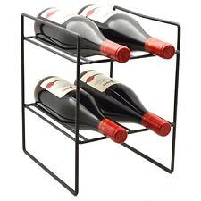 Wine Bottle Rack, 4 Bottle Compact Freestanding Black Metal - for Small Spaces