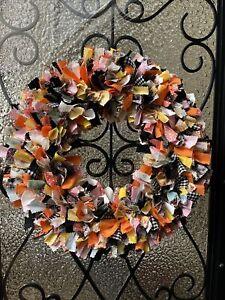 "Handmade Rag Wreath 14-inch Country Farmhouse Rustic Colorful ""Gemma"" NEW"