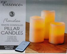 NEW 3 X REMOTE CONTROL LED SOFT FLAMELESS FLICKERING FLAME CANDLES PILLAR CHURCH