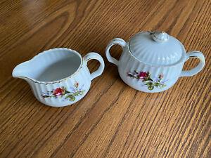 Vintage Noritake Morimura Sugar Bowl and Creamer Pink Rose Pattern