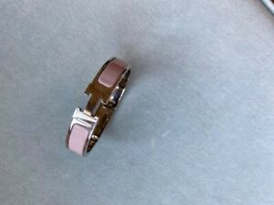 Hermes Enamel Bracelet Clic Clac H Bangle Pink for small wrist or child
