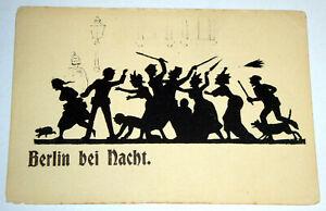 Alte AK +++ Nachtpostkarte Nr. 3 - Berlin bei Nacht, Scherenschnitt +++ ungel.