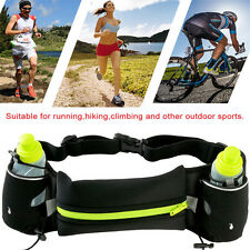 Sport Runner Waist Bum Bag Running Jogging Pouch Belt w/ 2 Free Water Bottles