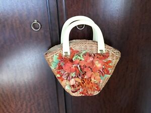 Vintage Wicker Small Bag. Very Sweet with Floral Frontage. Used