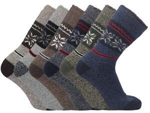 Mens 6/12 Pair Thick Thermal Fair Isle Walking Hiking Outdoor Boot Socks S: 6-11