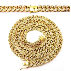 MENS LAB DIAMOND GOLD FINISH MIAMI CUBAN LINK CHAIN NECKLACE
