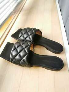 Bottega Veneta Intrecciato Padded Black Leather Flat Sandals Slides EU Size 38