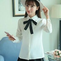 Women Grils Long Sleeve Baby Collar Blouse Tops Button Down OL Shirt