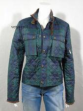 Polo RALPH LAUREN Leather-Trim Diamond Quilted Tartan Jacket Navy/Green size L