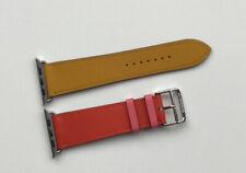 HERMES leather Apple Watch Strap Ambre/Capucine/Rose Azalée Single Tour 44mm