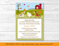 Fall Farm Animal Pumpkin Printable Baby Shower Invitation Editable PDF
