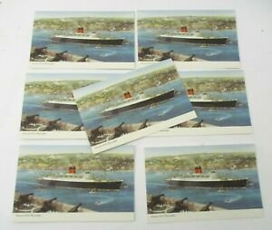 7 Unused 1950s Postcards from Cunard RMS Carinthia Cruise Ship