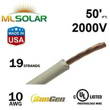50FT 10 AWG Sungen Solar PV Wire 2000V Cable UL 4703 Copper MADE IN USA
