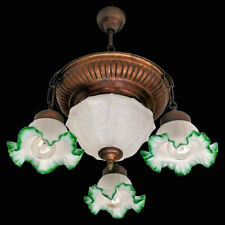 Antique French Degué Style Art-Nouveau,Art-Deco Frosted Glass 5 Light Chandelier