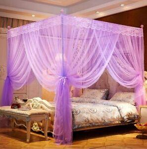 Nattey 5 Corners Princess Bed Curtain Canopy Canopies Purple Twin