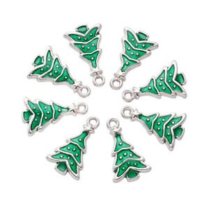 10pc Tibetan Christmas Tree Metal Enamel Pendants Mini Cute Dangle Charms 23.5mm