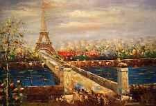 "24x36""100% hand painted oil flat,Street scene,Paris , Eiffel Tower ,High Quality"