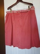Alfred Dunner Dress Shorts Salmon Coral Sateen w/Belt 24W Pleat Front NEW w/TAGS