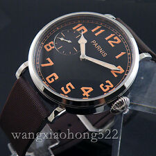 46mm Parnis Polished Case Black Dial Hand Winding Mechanical Mens Watch  6497