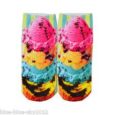 ITALIAN ICECREAM 3D Photo Trainer short SOCKS, UK Shoe 3-7 Cotton Blend 1 pair