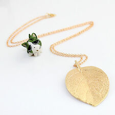 Elegant Lucky Charm Leaf Pendant Necklace Gold Long Sweater Chain Lady Gift