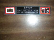 JUSTIFY (HORSE) TRIPLE CROWN NAMEPLATE FOR SIGNED PHOTO/MEMORABILIA DISPLAY
