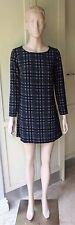 American Apparel Printed Gia Mini Dress Long Sleeve Black Grey Plaid Crepe SizeM