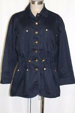 ST JOHN Sport Navy Blue Gold Logo Buttons Nautical Safari Jacket Size P PERFECT!