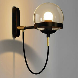 Industrial Bathroom LED Light Wall Sconce Lamp Glass Shade Lighting Fixture