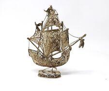 A Nice Antique Vintage Portuguese Solid Silver Filigree Galleon Ship Miniature