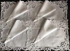 More details for gorgeous set vintage white table linens~4 place mats & 4 napkins~battenburg lace