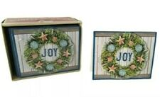 Seashell Wreath Coastal Christmas Holiday Cards 3D Boxed Set Of 18 Joy