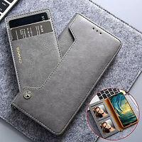 Pour iPhone, Samsung & Huawei, Housse à Clapet Magnétique et Porte-Carte Externe