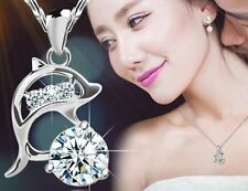 Xmas 925 Sterling silver Dolphin Crystal Pendant Women Necklace jewelry UK love