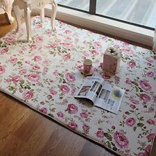 Romantic Vintage Floral Room Floor Mats Rose Print Carpet Living Room Rug Decor