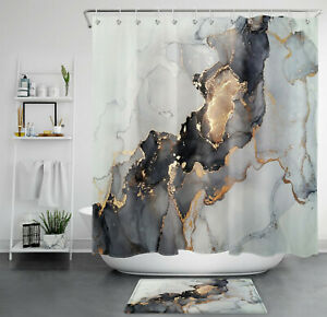 Abstract Black Golden White Gradient Marbling Shower Curtain Set Bathroom Decor