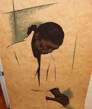 """EDWARD BIBERMAN """"GRIEVING WOMAN"""" LIMITED EDITION SIGNED RICE PAPER WOODBLOCK"""
