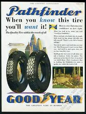 1930 Goodyear Zeppelin color art Pathfinder tires vintage print ad