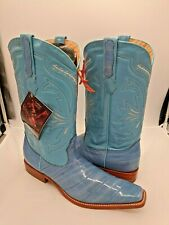Men's Cowboy Boots Genuine Eel Leather Baby Blue 9.5