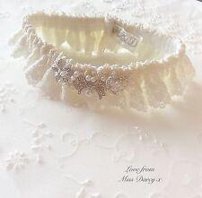 Ivory Lace Diamanté Pearl Personalised Brides Bridal Wedding Darcy Hen Garter