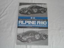 Tamiya 1/10 RC Vintage Manuel Manual Alpine A110 Rally (Original) 58168 - Used