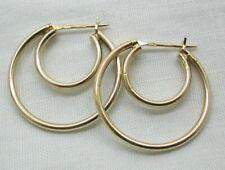 Vintage Lovely Pair Of 14 carat Gold Double Hoop Earrings