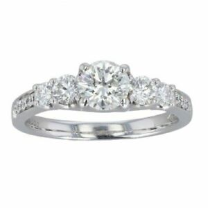 Womens - Platinum 1.30cts Diamond Solitaire Shoulders Ring - N
