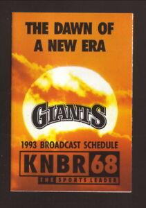 San Francisco Giants--1993 Pocket Schedule--KNBR/Great Western Bank